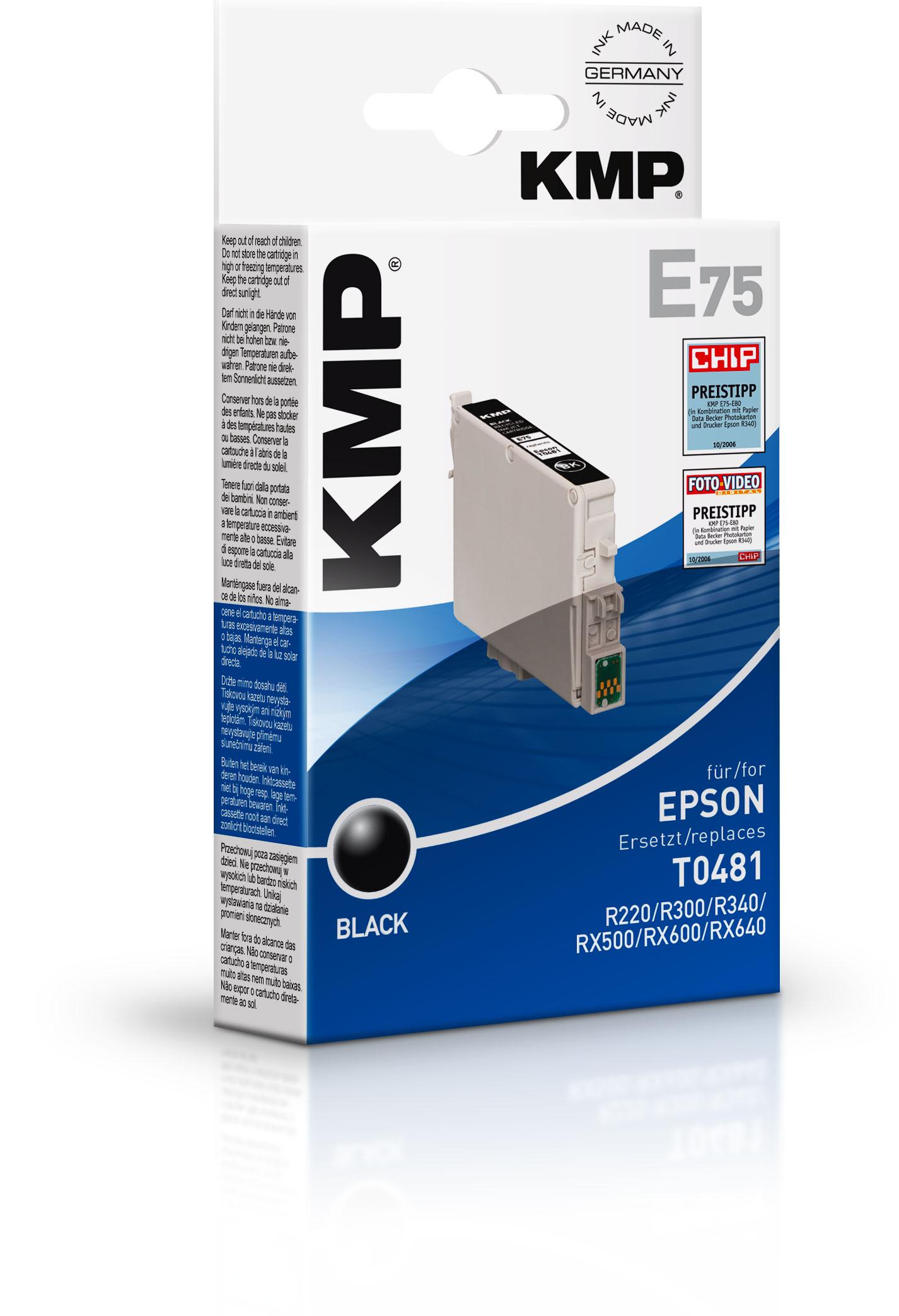 KMP ERSETZT T0481 C13T04814010 BLACK Tinte E75 in Stylus Photo R310 R320