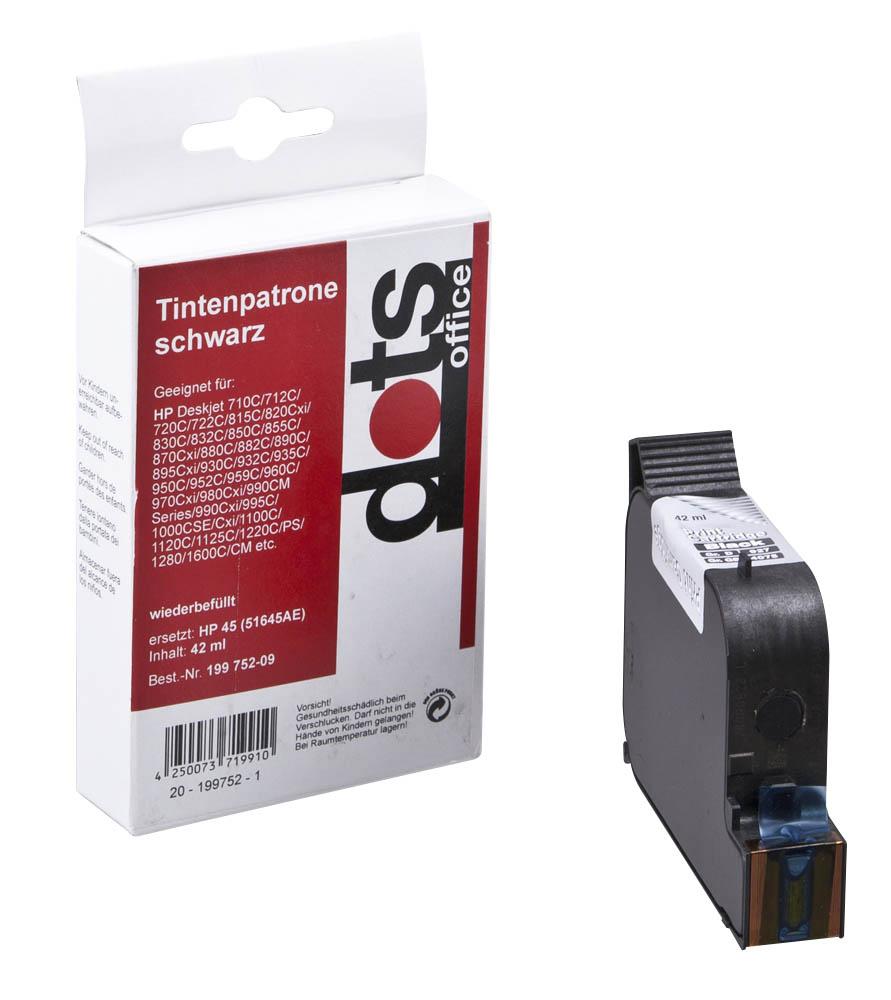 Dots Refill Tinten Nr. 45 51645A für HP OfficeJet K60 K80 R45 R65 T45 T65