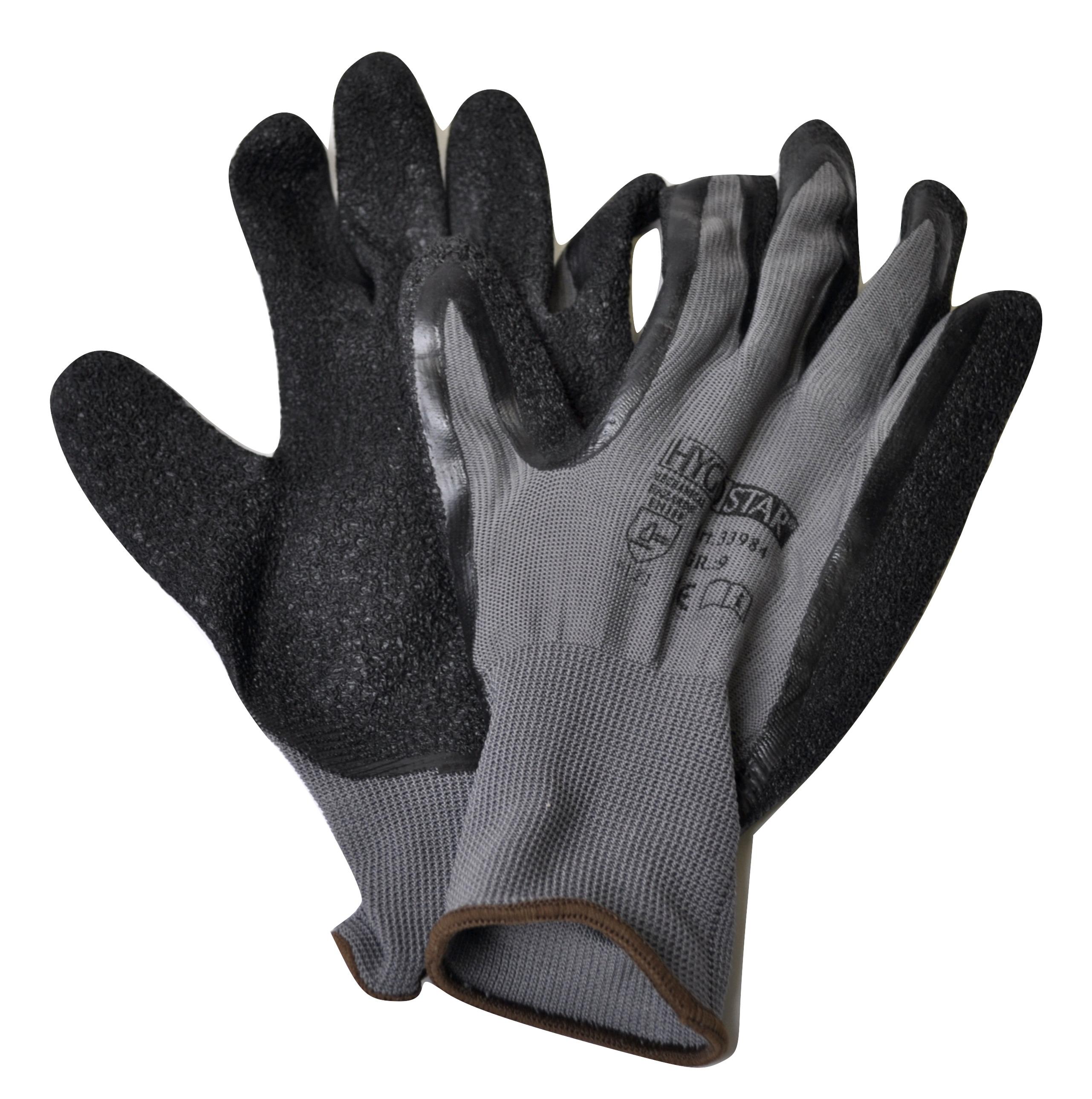 12 Paar Handschuhe SKILL grau Nylon-Feinstrick mit Latexbeschichtung - Größe L