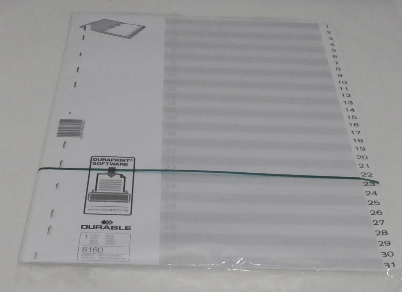 DURABLE Register 1-31 weiß A4 PP Vollformat Zahlenregister
